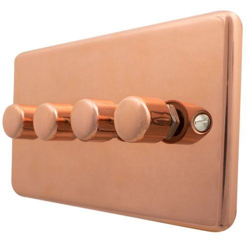 G&H CBC14 Standard Plate Bright Copper 4 Gang 1 or 2 Way 40-400W Dimmer Switch